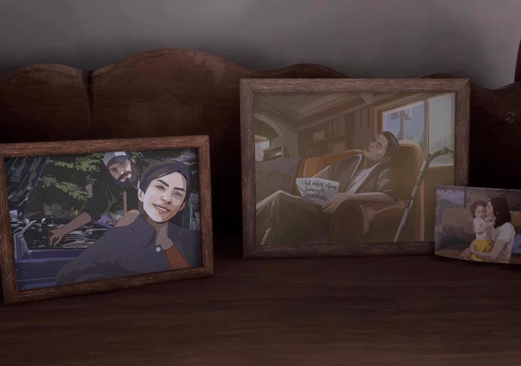 Framed photos of Sam and Alyson, Eddy, and Mary-Ann with baby Alyson.