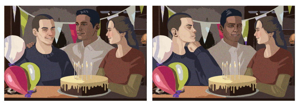 A comparison of two pictures at a birthday party. In the first, Tyler, Eddy and Alyson look happy; in the second, Tyler is scowling while Eddy and Alyson look happy.