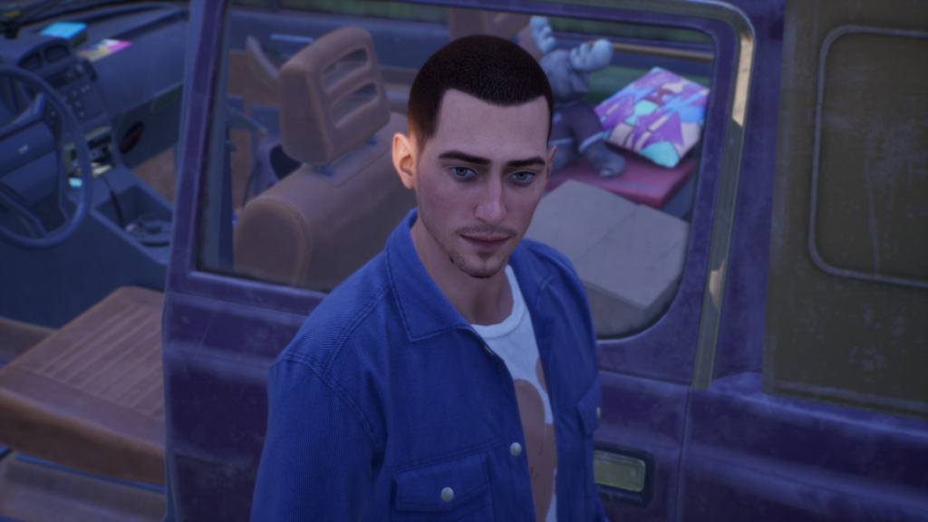 Tyler stands in front of Alyson's car.