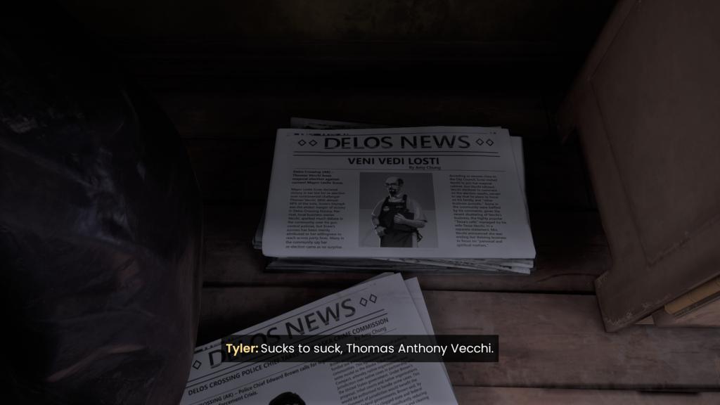 "A newspaper with the headline ""Veni Vidi Lost!"" Tyler: Sucks to suck, Thomas Anthony Vecchi."
