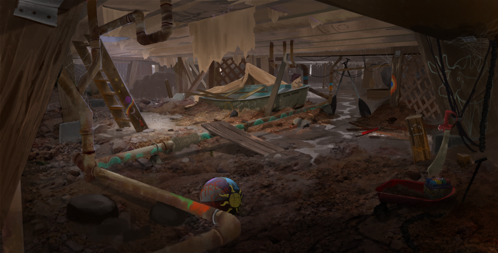 Concept art of the crawlspace under the Ronan House.